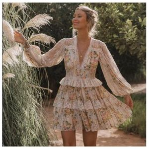 SPELL Gypsy Garden Rose Mini Dress Lace Floral HTF